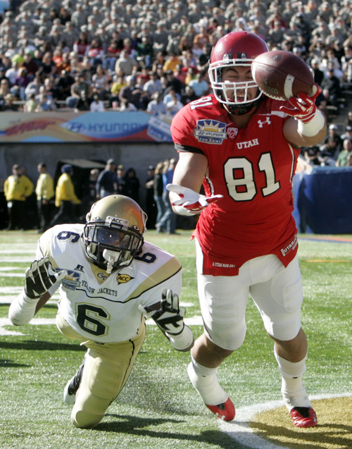 Trent Nelson  |  The Salt Lake Tribune Utah's Kendrick Moeai comes up just short of the touchdown pass during the second quarter as the University of Utah faces Georgia Tech, college football at the Sun Bowl in El Paso, Texas, Saturday, December 31, 2011. Defending is Georgia Tech's Rod Sweeting