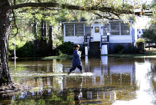 Letter carrier Dawn Greco wades in the water to deliver the mail after superstorm Sandy, Wednesday, Oct. 31, 2012, in Crisfield, Md. (AP Photo/Alex Brandon)