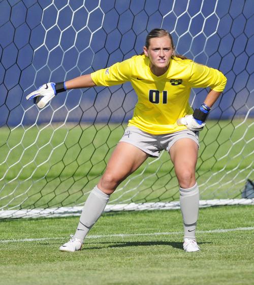 Courtesy Ryan Talbot Senior Ashlyn Mulford is the starting goalkeeper for the Utah State women's soccer team, which won the WAC regular-season title.