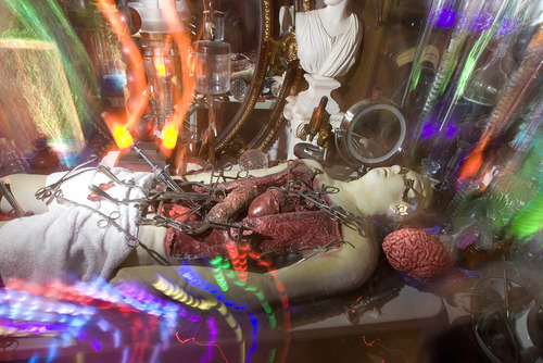 Paul Fraughton | The Salt Lake Tribune The  living room in James Gamble's West Valley City home is transformed into a mad scientist's laboratory complete with flashing lights and a gory operating table scene.