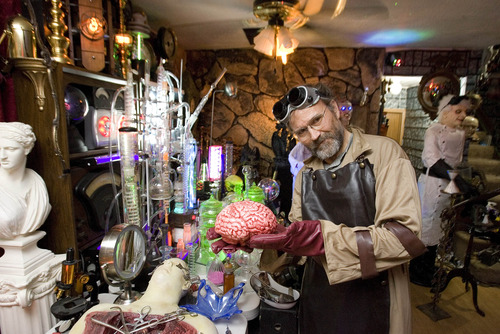 Paul Fraughton | The Salt Lake Tribune James Gamble stands inside the mad scientist's laboratory that he created in his West Valley City home.  Monday, October 29, 2012