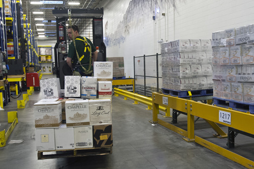 Chris Detrick     The Salt Lake Tribune Cases of beer, wine and liquor stored at the Utah Department of Alcoholic Beverage Control Wednesday October 31, 2012. Utahns are drinking nearly a third more liquor than they did six years ago, based on per capita consumption figures released by the Utah Department of Alcoholic Beverage Control.