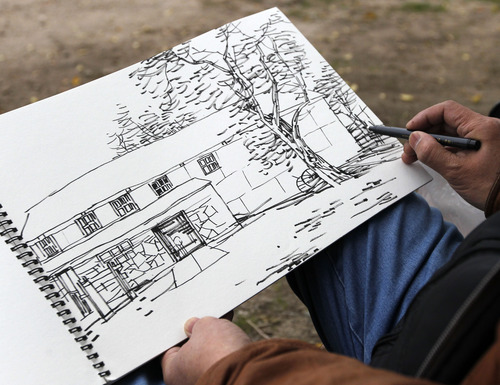 Al Hartmann  |  The Salt Lake Tribune Yang Jiayong, Director of Beijing Office of the China Artists Association's  pen and ink sketch of a scene at the Garr Ranch at the south end of Antelope Island Thursday Novmeber 1.   The group of artists spent the day photographing and sketching scenes at the ranch.    The Division of Utah State Parks on behalf of Antelope Island is signing a sister/marketing relationship with the Jinshanling section of the Great Wall in China.