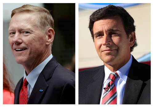 This combination of Associated Press file photos show Ford Motor Co. President and CEO Alan Mulally, at left, on Sept. 18, 2012 in New York, and Mark Fields, right, Ford president of the Americas, Monday, Sept. 10, 2012, in Flat Rock, Mich. Longtime Ford executive Mark Fields was named chief operating officer of the company on Thursday, Nov. 1, 2012, putting him in line to replace CEO Alan Mulally as soon as 2015. (AP Photo/File)