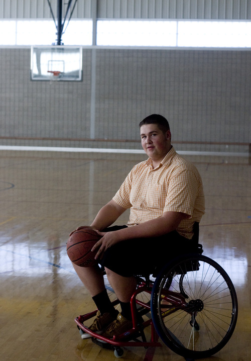 Kim Raff | The Salt Lake Tribune Marcus Bockman has a degenerative desease that is keeping him from playing high school basketball.  He has taken up wheelchair basketball in it's place and plays at Copperview Recreation Center where he poses for a portrait in Midvale, Utah on October 29, 2012.