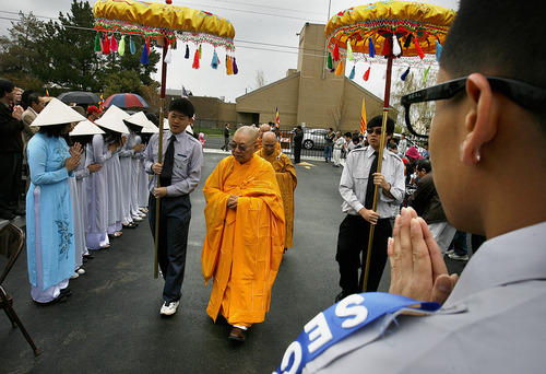 Scott Sommerdorf  |  The Salt Lake Tribune Buddhist Monk, Thich Tri Lang, of the Unified Vietnamese Buddhist Congregation in the United States, arrives at the Lien Hoa Buddhist Temple. The temple opened Sunday after a decade of planning, in West Valley CIty Sunday, April 17, 2011.