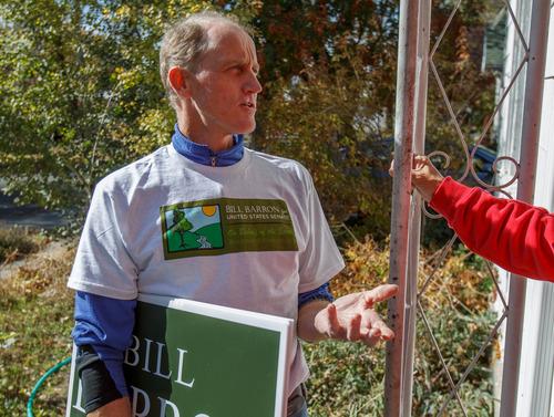 Trent Nelson  |  The Salt Lake Tribune U.S. Senate candidate Bill Barron is running on an environmental platform. He spoke to voters while going door-to-door Saturday in Salt Lake City.