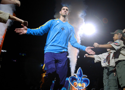 New Orleans Hornets shooting guard Austin Rivers takes the court before an NBA basketball game against the Utah Jazz in New Orleans, Friday, Nov. 2, 2012. (AP Photo/Jonathan Bachman)