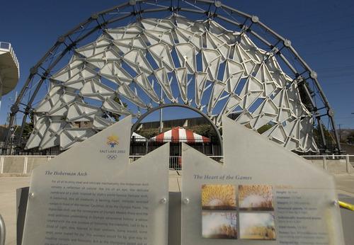 Paul Fraughton | The Salt Lake Tribune The Hoberman Arch is on display at Olympic Cauldron Park at  Rice-Eccles Stadium.  Monday, October 29, 2012