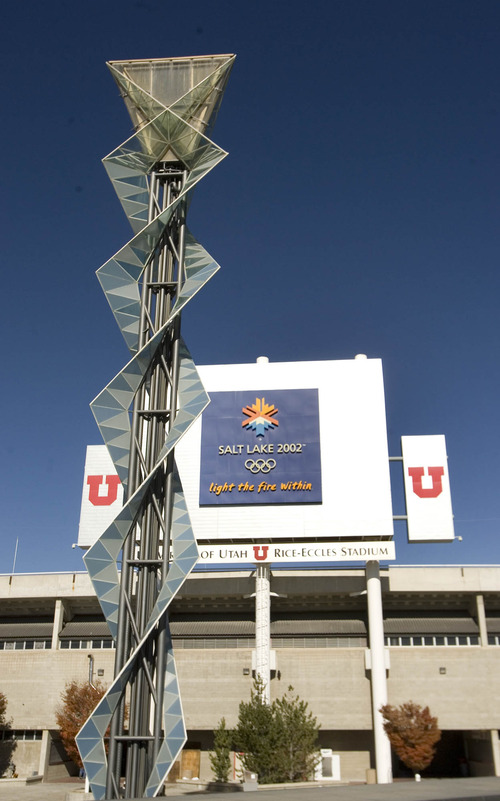 Paul Fraughton | The Salt Lake Tribune The Olympic Cauldron from the 2002  Winter Games stands outside Rice-Eccles Stadium at the University of Utah.