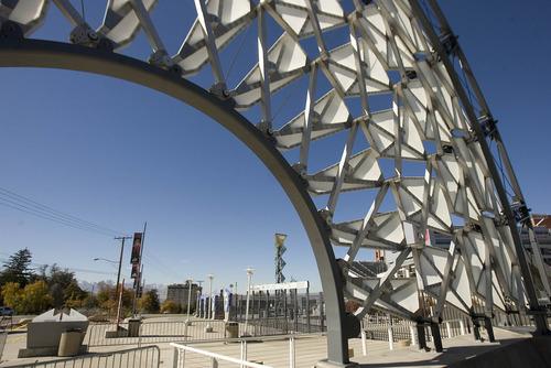 Paul Fraughton | The Salt Lake Tribune The Hoberman Arch is on display at Olympic Cauldron Park at Rice-Eccles Stadium.