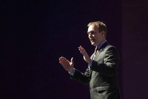 Chris Detrick  |  The Salt Lake Tribune Salt Lake County Mayor candidate Ben McAdams speaks during the Salt Lake County Democratic Party Nominating Convention at Murray High School Saturday April 14, 2012.