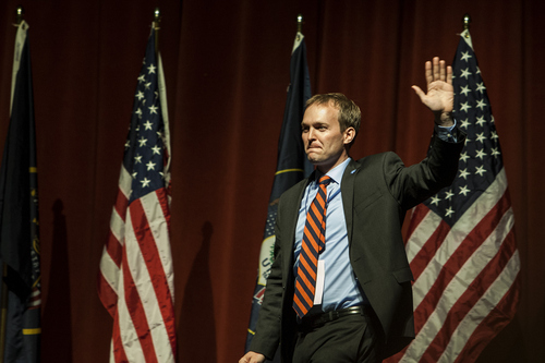 Chris Detrick   |   The Salt Lake Tribune  Salt Lake County Mayor candidate Ben McAdams speaks during the county Democratic Party Nominating Convention at Murray High School in April.