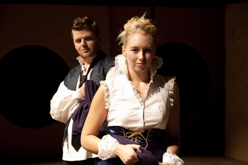 """Justin Tsatsa as Giovanni and Clara Osbeck as Annabella in the University of Utah's production of John Ford's """"'Tis Pity She's a Whore.""""  Courtesty Spencer Sandstrom"""