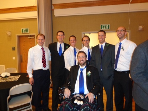 Courtesy image Wearing a kilt in honor of his Scottish heritage, Rich McKenzie celebrates his wedding last month with his friends. Back, left to right, Ryan Orrock, Chris Hanson, Dan McKenzie, Dave McKenzie, Steve Kippen and Pete Norseth.