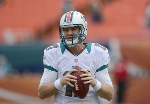 Miami Dolphins quarterback Ryan Tannehill prepares to pass during warmups before the start of an NFL football game against the St. Louis Rams, Sunday, Oct. 14, 2012 in Miami. (AP Photo/Rhona Wise)