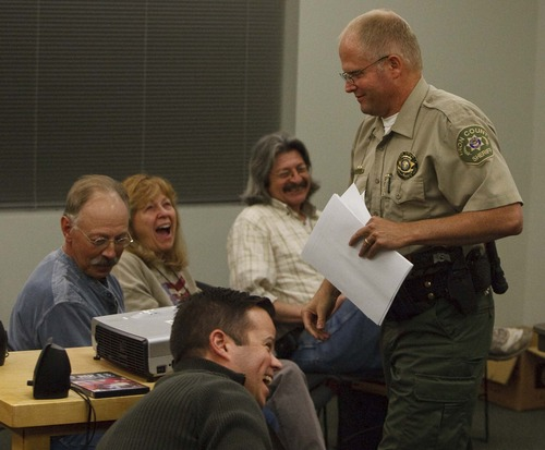 Leah Hogsten  |  The Salt Lake Tribune Iron County Sheriff Mark Gower draws a laugh from attendees at the close of the meeting of the Iron County Citizens Review Board Thursday in Cedar City. Gower has agreed to work with the board to investigate complaints against his deputies and share the results.The Iron County board was formed to investigate what the supporters believe is misconduct and corruption among the police within Iron County