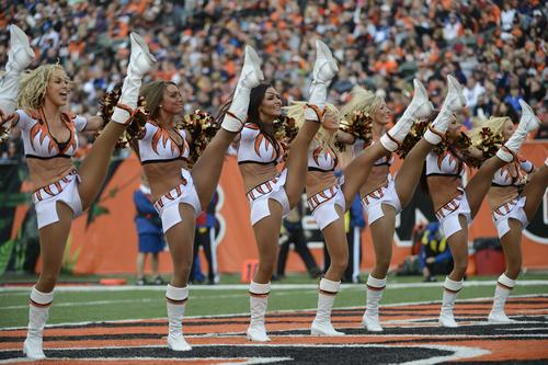 Cincinnati Bengals cheerleaders perform in the first half of an NFL football game against the Denver Broncos, Sunday, Nov. 4, 2012, in Cincinnati. (AP Photo/Michael Keating)
