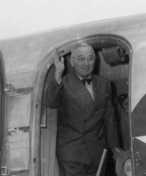 President Harry S. Truman waves from the door of his plane while visiting Utah in 1945. Courtesy Utah State Historical Society