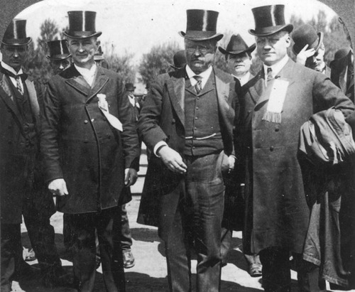 Utah's first governor Heber M. Wells (right) and U.S. president Theodore Roosevelt in Salt Lake City around 1902. Courtesy Utah State Historical Society