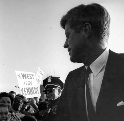 John F. Kennedy is greeted by a crowd in Salt Lake during his visit in September 1963. Courtesy Utah State Historical Society