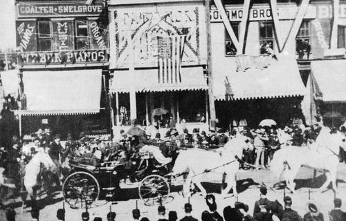 President Benjamin Harrison rides through Salt Lake during his visit to Utah around 1890. Courtesy Utah State Historical Society