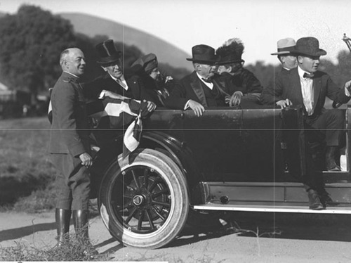 President Woodrow Wilson (in top hat) at Fort Douglas while visiting Salt Lake in 1915. Courtesy Utah State Historical Society