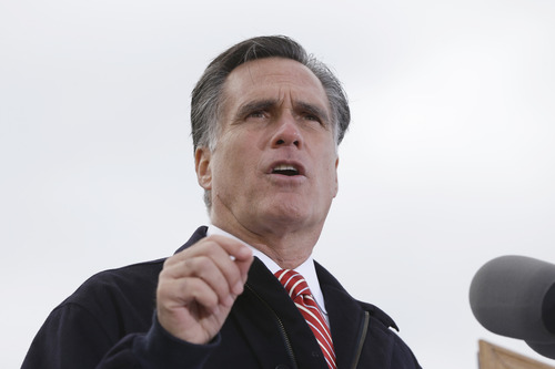 Republican presidential candidate, former Massachusetts Gov. Mitt Romney speaks about the economy during a campaign rally at Kinzler Construction Services in Ames, Iowa, Friday, Oct. 26, 2012. (AP Photo/Charles Dharapak)