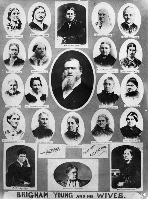 Brigham Young and his wives. Photo courtesy of Utah Historical Society