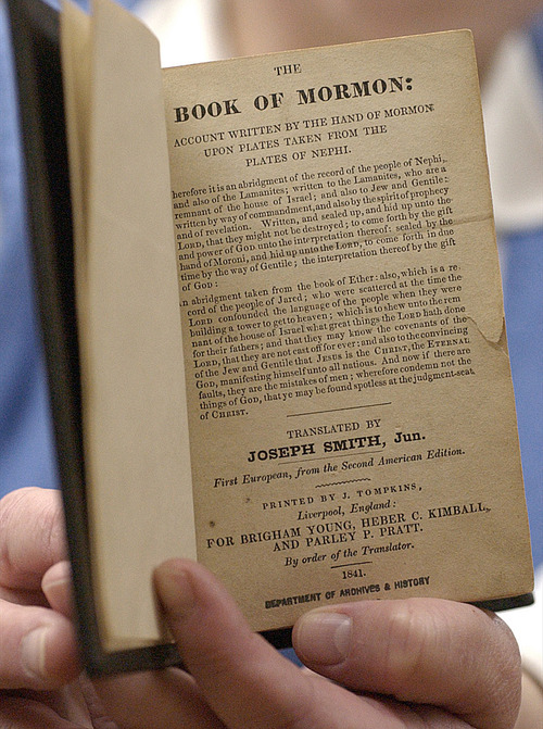 Tribune file photo  The 1841 1st edition of the British Book of Mormon, published by J. Tompkins in England.