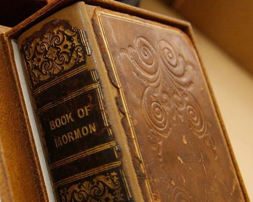 Tribune file photo A closeup of the 1841 Book of Mormon printed in Liverpool, England.