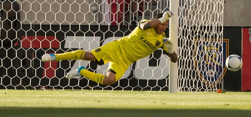 Trent Nelson  |  The Salt Lake Tribune RSL goalkeeper Nick Rimando leaps for a save as Real Salt Lake hosts the L.A. Galaxy at Rio Tinto Stadium on Wednesday, June 20, 2012, in Sandy.