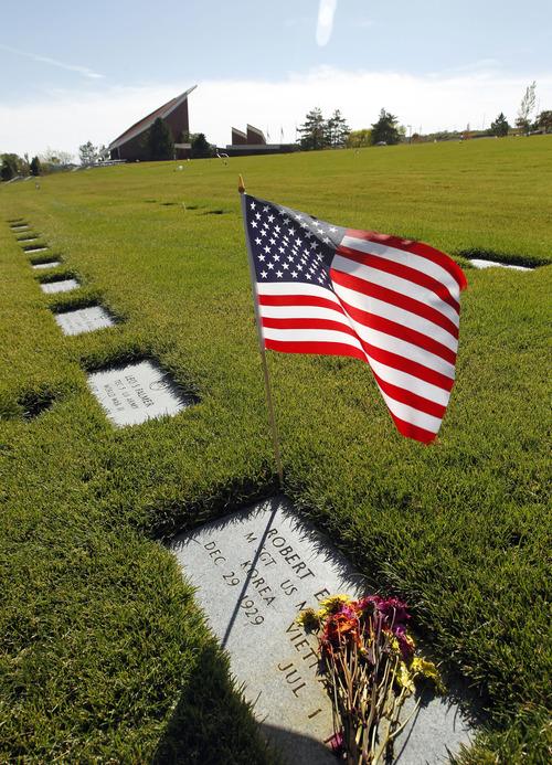 Al Hartmann  |  The Salt Lake Tribune Headstones for servicemen at Veteran's Memorial Park and Cemetery near Fort Douglas.