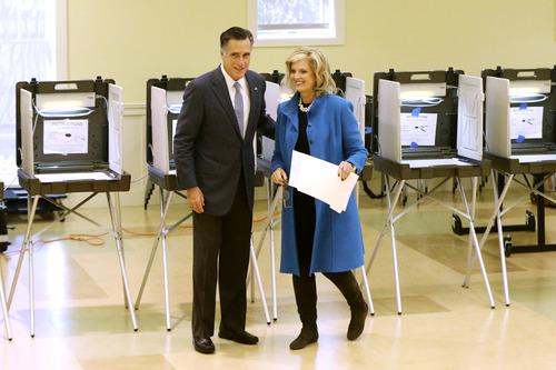 Republican presidential candidate, former Massachusetts Gov. Mitt Romney and wife Ann Romney vote in Belmont, Mass., Tuesday, Nov. 6, 2012. (AP Photo/Charles Dharapak)