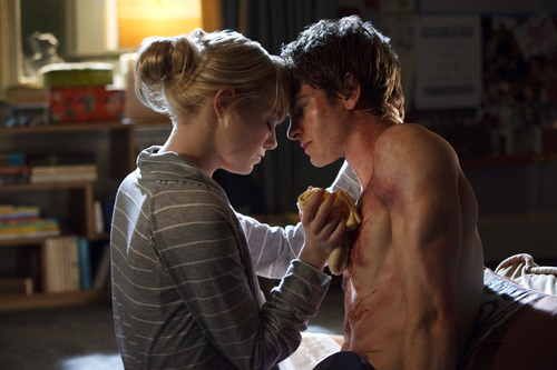"""In this film image released by Sony Pictures, Emma Stone, left, and Andrew Garfield are shown in a scene from """"The Amazing Spider-Man."""" (AP Photo/Columbia - Sony Pictures, Jaimie Trueblood)"""