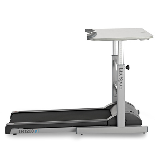 The LifeSpan DT-5 treadmill and work desk from Salt Lake City-based PCE Fitness, which produces exercise equipment. The DT-5 allows you to walk on the treadmill while working at the desk at the same time.
