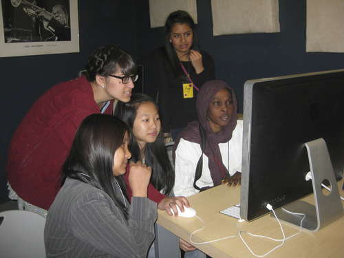 Teens who are part of the International Rescue Committee's youth programs participate in a Spy Hop workshop to learn how to make a digital documentary of their stories. Spy Hop is partnering with the Salt Lake County Library to teach refugee youth how to share their stories through digital media. Courtesy Spy Hop