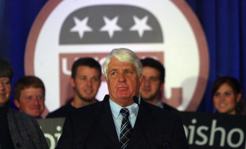 Steve Griffin | The Salt Lake Tribune   Rob Bishop,  the U.S. Representative for Utah's 1st congressional district, talks with his supporters during election night party for the Republicans at the Hilton Hotel in Salt Lake City, Utah Tuesday November 6, 2012.