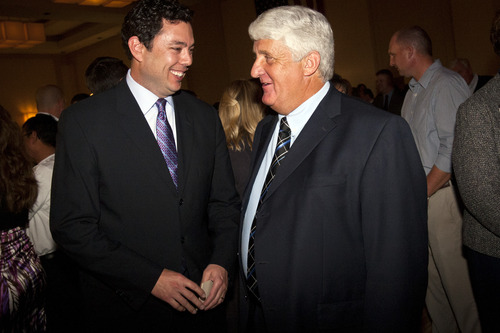 Chris Detrick  |  The Salt Lake Tribune Rep. Jason Chaffetz speaks with Rep. Rob Bishop during the Republican Election Night Party at the Salt Lake Hilton Hotel Tuesday November 6, 2012.