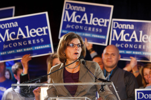 Trent Nelson  |  The Salt Lake Tribune 1st District Congressional candidate Donna McAleer gives her concession speech at the Salt Lake Sheraton Hotel, Democratic headquarters on election night Tuesday, Nov. 6, 2012, in Salt Lake City.