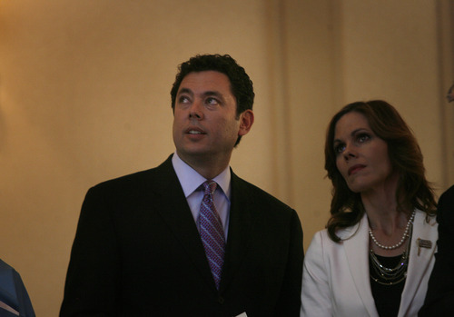 Scott Sommerdorf  |  The Salt Lake Tribune               Congressman Jason Chaffetz, R, Utah, watches Presidential voting returns with his wife Julie at GOP headquarters in Salt Lake City, Tuesday, November 6, 2012