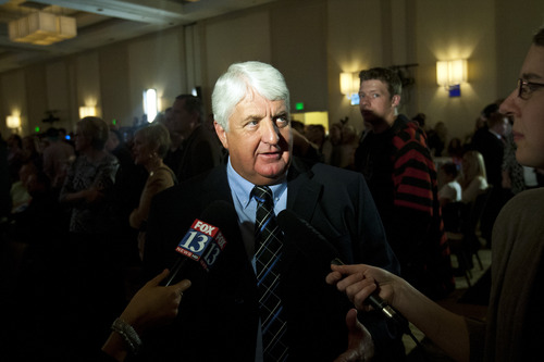 Chris Detrick  |  The Salt Lake Tribune Rep. Rob Bishop gives an interview during the Republican Election Night Party at the Salt Lake Hilton Hotel Tuesday November 6, 2012.