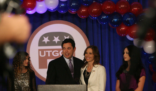 Steve Griffin | The Salt Lake Tribune   Jason E. Chaffetz, the U.S. Representative for Utah's 3rd congressional district, stands with his family as he talk to supporters during election night party for the Republicans at the Hilton Hotel in Salt Lake City, Utah Tuesday November 6, 2012.