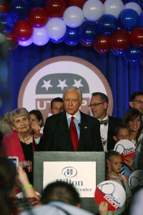 Steve Griffin | The Salt Lake Tribune   U.S. Senator, Orrin Hatch, talks to his supporters during election night party for the Republicans at the Hilton Hotel in Salt Lake City, Utah Tuesday November 6, 2012.