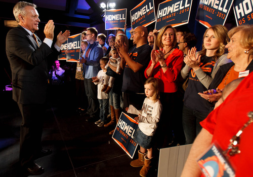 Trent Nelson     The Salt Lake Tribune Senate candidate Scott Howell applauds his family and campaign staff while giving his concession speech at the Salt Lake Sheraton Hotel, Democratic headquarters on election night Tuesday, Nov. 6, 2012, in Salt Lake City.