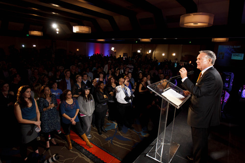 Trent Nelson  |  The Salt Lake Tribune Senate candidate Scott Howell gives his concession speech at the Salt Lake Sheraton Hotel, Democratic headquarters on election night Tuesday, Nov. 6, 2012, in Salt Lake City.