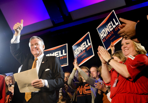 Kim Raff   The Salt Lake Tribune Senate candidate Scott Howell gives a concession speech at the Democrats' election night party at the Sheraton Hotel in Salt Lake City after being defeated by Orrin Hatch on Tuesday, Nov. 6, 2012.
