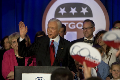 Scott Sommerdorf  |  The Salt Lake Tribune               Senator Orrin Hatch waves to supporters at the GOP headquarters after he spoke, Tuesday, November 6, 2012