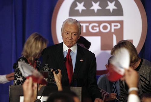 Scott Sommerdorf  |  The Salt Lake Tribune               Senator Orrin Hatch takes the stage and makes eye contact with supporters not long after the Presidential race was called for President Barck Obama, Tuesday, November 6, 2012