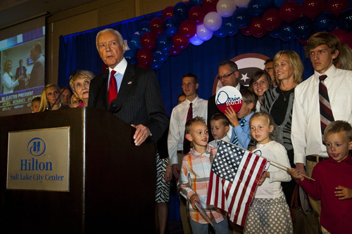 Chris Detrick  |  The Salt Lake Tribune With his family members sharing the stage, Sen. Orrin Hatch speaks during the Republican Election Night Party at the Salt Lake Hilton Hotel Tuesday November 6, 2012.